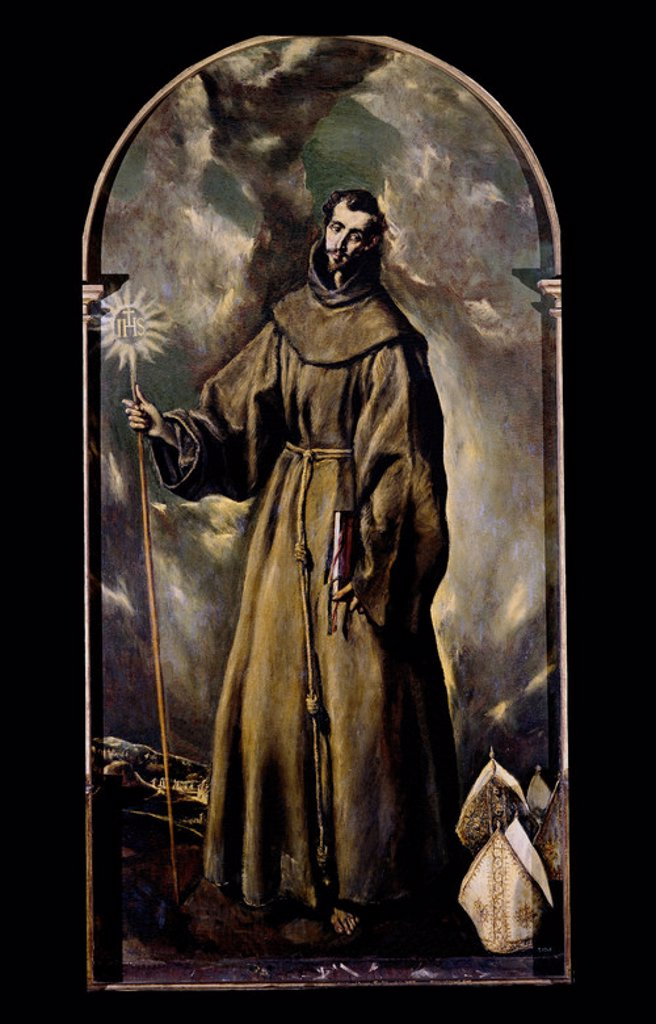 Stock Photo: 4409-6924 Saint Bernard of Clairvaux - 1603 - 144 x 269 cm - oil on canvas. Author: EL GRECO. Location: CASA MUSEO DEL GRECO-COLECCION, TOLEDO, SPAIN. Also known as: SAN BERNARDINO DE SIENA.