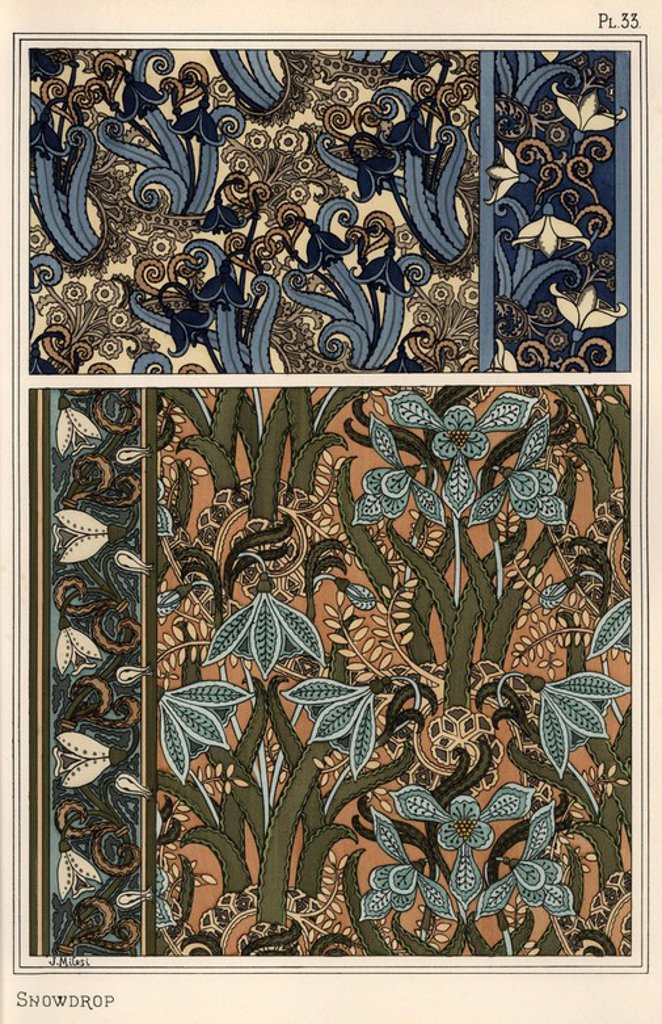 "Stock Photo: 4409-69369 Snowdrop, Galanthus nivalis, as design motif in wallpaper, borders and fabrics. Lithograph by J. Milesi with pochoir (stencil) handcoloring from Eugene Grasset's ""Plants and their Application to Ornament,"" Paris, 1897. Grasset (1841-1917) was a Swiss artist whose innovative designs inspired the ""art nouveau"" movement at the end of the 19th century."