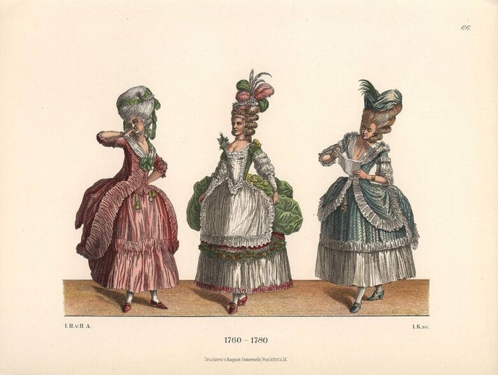 "Women's fashions from the late 18th century from prints of the era. Woman in a pink dress a la Polonaise, woman in green ball gown with plumed headdress, and woman reading a letter in frock a la Polonaise. Chromolithograph from Hefner-Alteneck's ""Costumes, Artworks and Appliances from the Middle Ages to the 18th Century,"" Frankfurt, 1889. Illustration by Dr. Jakob Heinrich von Hefner-Alteneck, lithographed by Joh. Klipphahn, and published by Heinrich Keller. Dr. Hefner-Alteneck (1811 - 1903) was : Stock Photo"
