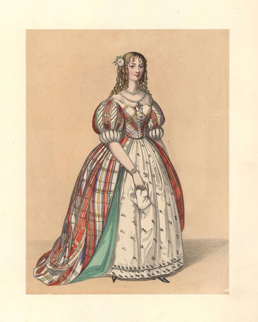 "Stock Photo: 4409-69381 Dress of the reign of James II, 1685~1688. She wears her hair in ringlets, a low-cut check dress with bodice and puff sleeves over an embroidered petticoat. Based on Hollar's ""Ornatus Muliebris Anglicanus,"" Heath's ""Chronicle,"" de Grammont, portraits, prints. Handcoloured lithograph from ""Costumes of British Ladies from the Time of William the First to the Reign of Queen Victoria,"" London, Dickinson & Son, 1840. 48 mounted plates of women's fashion from 1066 to 1840 based on effigies, manuscript"