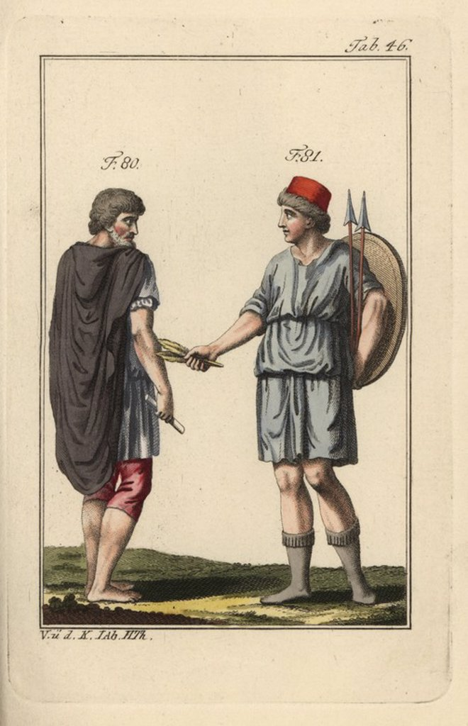 "Stock Photo: 4409-69459 Spaniard and Spanish woman with shield and spears. Handcolored copperplate engraving from Robert von Spalart's ""Historical Picture of the Costumes of the Principal People of Antiquity and of the Middle Ages"" (1797)."