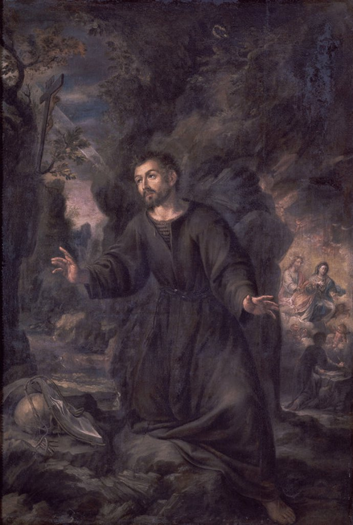 Spanish school. Saint Ignace de Loyola in Manresa. Seville, Museum of Fine Arts. Spain. Author: VALDES LEAL, JUAN DE. Location: MUSEO DE BELLAS ARTES-CONVENTO DE LA MERCED CALZAD, SEVILLE, SPAIN. : Stock Photo