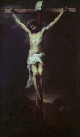 Stock Photo: 4409-6955 CRISTO CRUCIFICADO - 1677 - OLEO/LIENZO - 71x54 cm - NP 966 - BARROCO ESPAÑOL. Author: MURILLO BARTOLOME. Location: MUSEO DEL PRADO-PINTURA, MADRID, SPAIN.