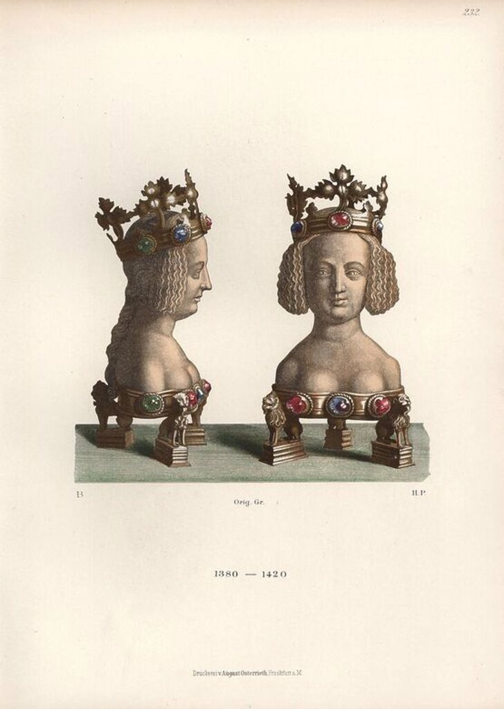 "Stock Photo: 4409-69709 Reliquary in the form of a bust of a young woman from the 14th century. Chromolithograph from Hefner-Alteneck's ""Costumes, Artworks and Appliances from the early Middle Ages to the end of the 18th Century,"" Frankfurt, 1883. IIlustration drawn by Hefner-Alteneck, lithographed by H.P., and published by Heinrich Keller. Dr. Jakob Heinrich von Hefner-Alteneck (1811-1903) was a German archeologist, art historian and illustrator. He was director of the Bavarian National Museum from 1868 until 1886."