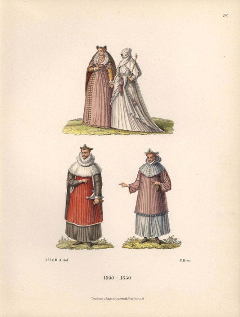 "Figures from the family records of Baron Christian von Wurzburg. Two Roman women at top, one in robes of penitence, and Louis II, Cardinal of Guise, assassinated in 1588, below. Chromolithograph from Hefner-Alteneck's ""Costumes, Artworks and Appliances from the Middle Ages to the 17th Century,"" Frankfurt, 1889. Illustration by Dr. Jakob Heinrich von Hefner-Alteneck, lithographed by CR, and published by Heinrich Keller. Dr. Hefner-Alteneck (1811 - 1903) was a German curator, archaeologist, art hi : Stock Photo"