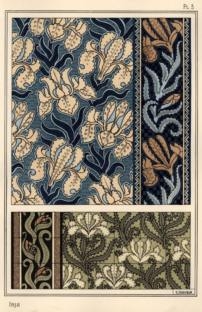 """The iris in patterns for fabrics and tiles. Lithograph by E. Hervegh with pochoir (stencil) handcoloring from Eugene Grasset's """"Plants and their Application to Ornament,"""" Paris, 1897. Eugene Grasset (1841-1917) was a Swiss artist whose innovative designs inspired the """"art nouveau"""" movement at the end of the 19th century. : Stock Photo"""