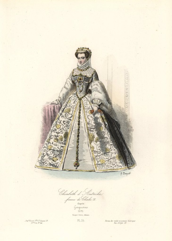 "Stock Photo: 4409-70176 Elizabeth of Austria (1554-1592), wife to Charles IX, 1570. Handcoloured steel engraving by Hippolyte Pauquet after Gaignieres from the Pauquet Brothers' ""Modes et Costumes Historiques"" (Historical Fashions and Costumes), Paris, 1865. Hippolyte (b. 1797) and Polydor Pauquet (b. 1799) ran a successful publishing house in Paris in the 19th century, specializing in illustrated books on costume, birds, butterflies, anatomy and natural history."