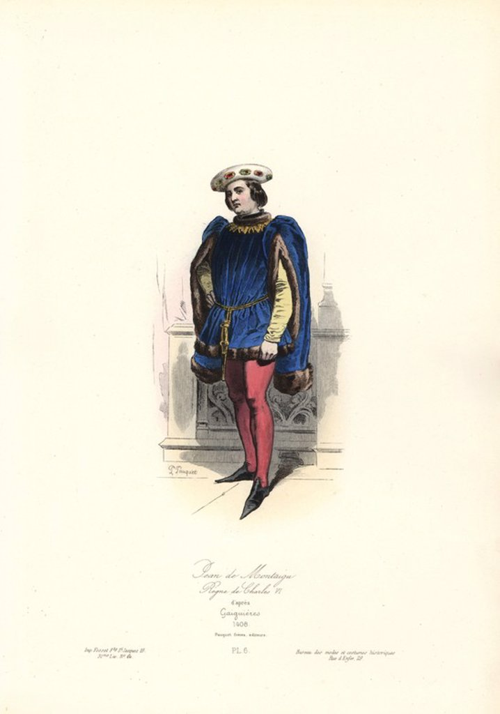 "Jean de Montaigu (1363-1409), bastard son of Charles V, reign of Charles VI, 1408. Handcoloured steel engraving by Polidor Pauquet after Gaignieres from the Pauquet Brothers' ""Modes et Costumes Historiques"" (Historical Fashions and Costumes), Paris, 1865. Hippolyte (b. 1797) and Polydor Pauquet (b. 1799) ran a successful publishing house in Paris in the 19th century, specializing in illustrated books on costume, birds, butterflies, anatomy and natural history. : Stock Photo"