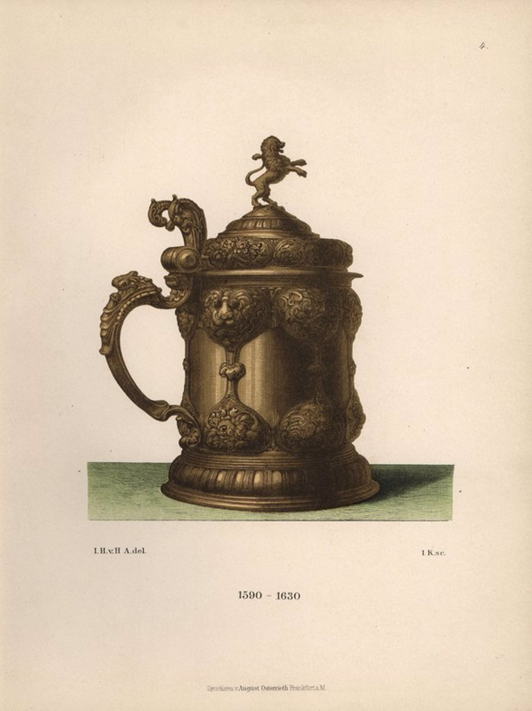 """Drinking vessel in gilded silver decorated with lions in the Renaissance style from the 17th century. Chromolithograph from Hefner-Alteneck's """"Costumes, Artworks and Appliances from the Middle Ages to the 17th Century,"""" Frankfurt, 1889. Illustration by Dr. Jakob Heinrich von Hefner-Alteneck, lithographed by Joh. Klipphahn, and published by Heinrich Keller. Dr. Hefner-Alteneck (1811 - 1903) was a German museum curator, archaeologist, art historian, illustrator and etcher. : Stock Photo"""