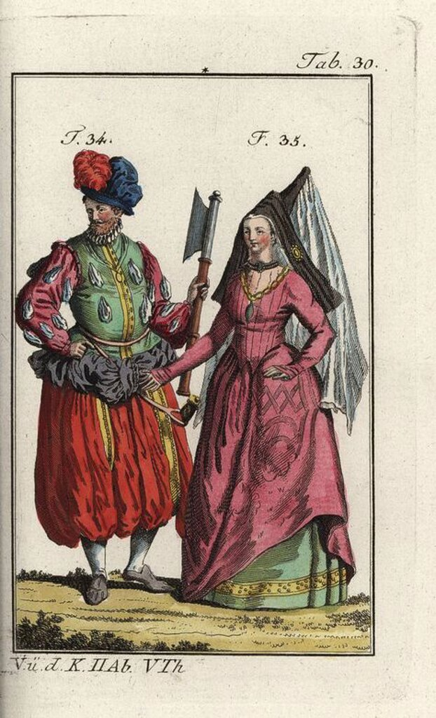 "Stock Photo: 4409-70373 German army officer with axe and voluminous breeches, and a countess of Holland and Zeeland wearing a veil. Handcolored copperplate engraving from Robert von Spalart's ""Historical Picture of the Costumes of the Principal People of Antiquity and of the Middle Ages,"" Vienna, 1811. Illustration based on Thomas Jefferys Collection of Dresses of Different Nations, Antient and Modern. After the Designs of Holbein, Van Dyke, Hollar, and others, London, 1757."