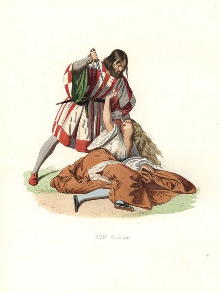 """Stock Photo: 4409-70478 Venetian man killing his wife, 16th century, from a fresco by Titian. The man wears a crimson and white striped tunic with green lining, the victim a white blouse and brown skirt.. Handcolored illustration by E. Lechevallier-Chevignard, lithographed by A. Didier, L. Flameng, F. Laguillermie, from Georges Duplessis's """"Costumes historiques des XVIe, XVIIe et XVIIIe siecles"""" (Historical costumes of the 16th, 17th and 18th centuries), Paris 1867. The book was a continuation of the series on the cost"""
