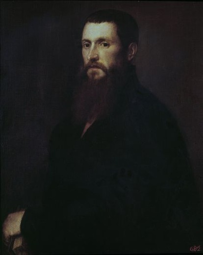 Stock Photo: 4409-7062 Italian school. Portrait of Daniele Barbaro. Oil on canvas (81 x 69 cm). Madrid, Prado museum. Author: TITIAN. Location: MUSEO DEL PRADO-PINTURA, MADRID, SPAIN.