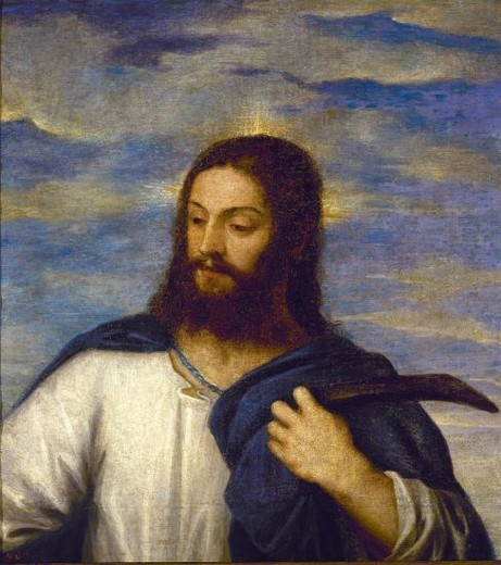 Stock Photo: 4409-7063 1485-1576. The Saviour. Copied by Sanchez Coello. Madrid, Prado museum. Author: TITIAN. Location: MUSEO DEL PRADO-PINTURA, MADRID, SPAIN.