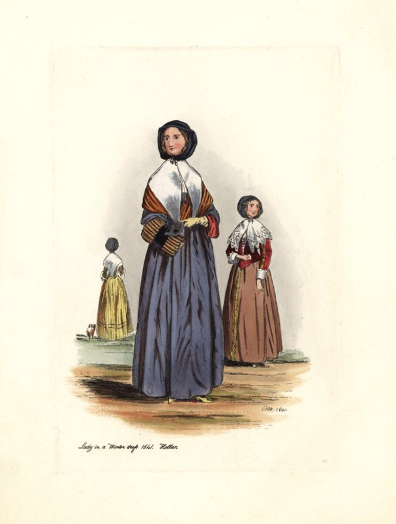 "Lady in winter dress, 1641, reign of Charles I, from Hollar. She wears a long dress, a jacket covered with shawls and collars. In her hands she has a muff and a mask. Handcolored engraving from ""Civil Costume of England from the Conquest to the Present Period"" drawn by Charles Martin and etched by Leopold Martin, London, Henry Bohn, 1842. The costumes were drawn from tapestries, monumental effigies, illuminated manuscripts and portraits. Charles and Leopold Martin were the sons of the romantic a : Stock Photo"