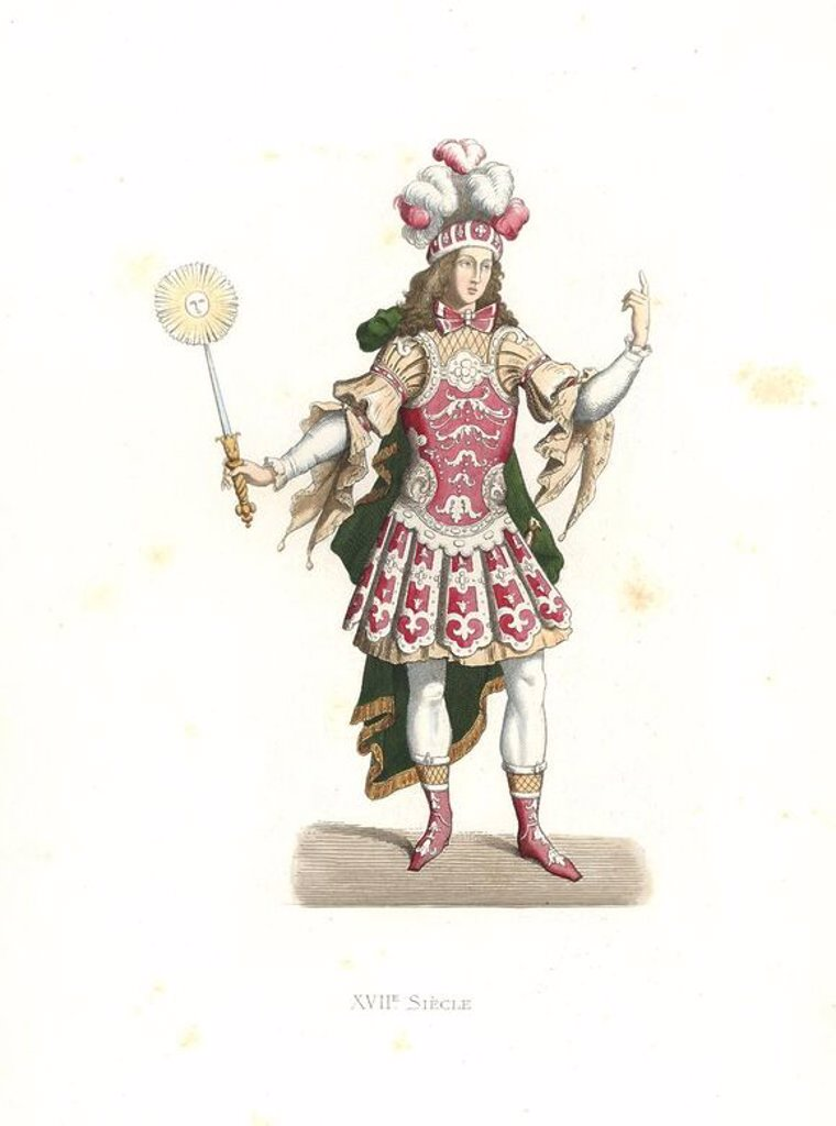 "Louis XIV, the Sun King, in ballet costume, 17th century. Handcolored illustration by E. Lechevallier-Chevignard, lithographed by A. Didier, L. Flameng, F. Laguillermie, from Georges Duplessis's ""Costumes historiques des XVIe, XVIIe et XVIIIe siecles"" (Historical costumes of the 16th, 17th and 18th centuries), Paris 1867. The book was a continuation of the series on the costumes of the 12th to 15th centuries published by Camille Bonnard and Paul Mercuri from 1830. Georges Duplessis (1834-1899) w : Stock Photo"