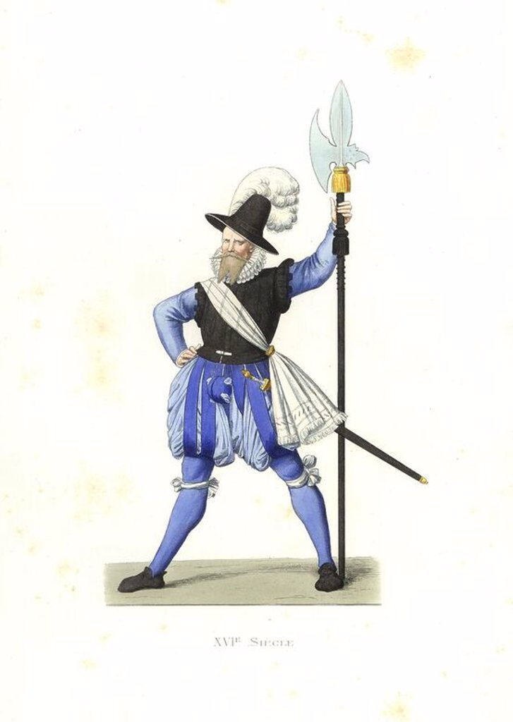"Heinrich Schmid, Swiss halberdier, 16th century. Handcolored illustration by E. Lechevallier-Chevignard, lithographed by A. Didier, L. Flameng, F. Laguillermie, from Georges Duplessis's ""Costumes historiques des XVIe, XVIIe et XVIIIe siecles"" (Historical costumes of the 16th, 17th and 18th centuries), Paris 1867. The book was a continuation of the series on the costumes of the 12th to 15th centuries published by Camille Bonnard and Paul Mercuri from 1830. Georges Duplessis (1834-1899) was curato : Stock Photo"