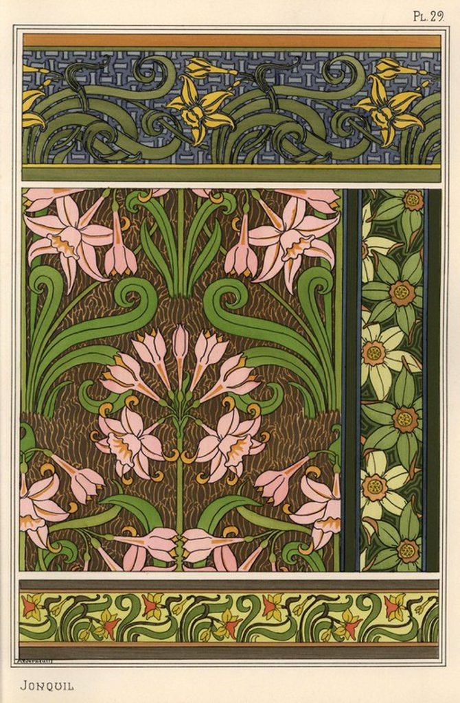 "Jonquil, Narcissus jonquilla, as design motif in wallpaper and fabric patterns. Lithograph by Verneuil with pochoir (stencil) handcoloring from Eugene Grasset's ""Plants and their Application to Ornament,"" Paris, 1897. Grasset (1841-1917) was a Swiss artist whose innovative designs inspired the ""art nouveau"" movement at the end of the 19th century. : Stock Photo"