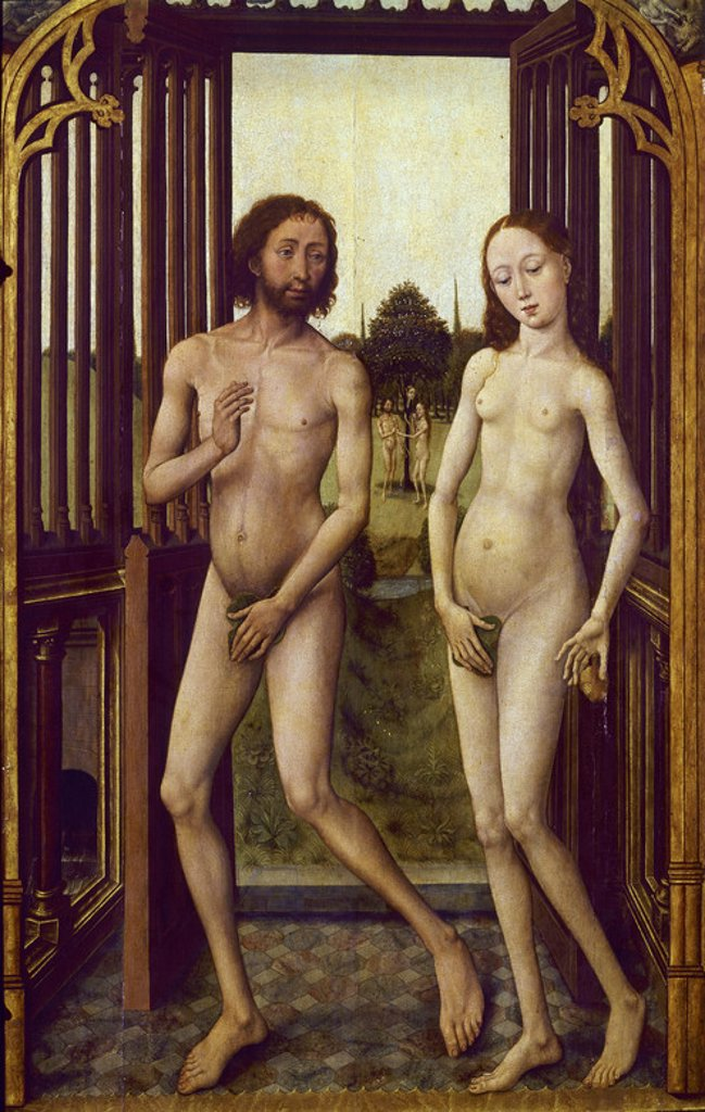 Stock Photo: 4409-7096 Adam and Eve. 15th century. Flemish gothic. Madrid, Prado Museum. Author: STOCKT, VRANCKE VAN DER. Location: MUSEO DEL PRADO-PINTURA, MADRID, SPAIN.