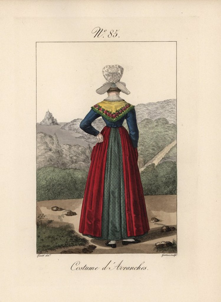 "Stock Photo: 4409-71029 Costume of Avranches. Rear view of the bonnet in Plate 84, showing the small hairpiece chignon. Mont Saint Michel can be seen in the background. Hand-colored fashion plate illustration by Lante engraved by Gatine from Louis-Marie Lante's ""Costumes des femmes du Pays de Caux,"" 1827/1885. With their tall Alsation lace hats, the women of Caux and Normandy were famous for the elegance and style."