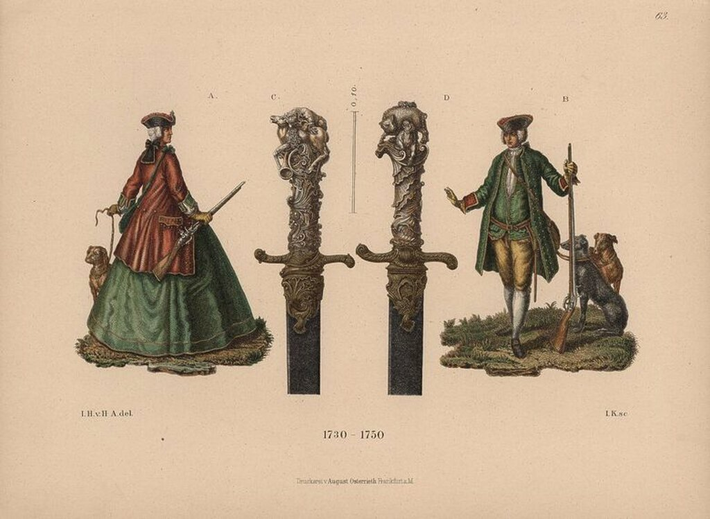 "Hunting costumes and hunting swords from the mid-18th century. Chromolithograph from Hefner-Alteneck's ""Costumes, Artworks and Appliances from the Middle Ages to the 18th Century,"" Frankfurt, 1889. Illustration by Dr. Jakob Heinrich von Hefner-Alteneck, lithographed by Joh. Klipphahn, and published by Heinrich Keller. Dr. Hefner-Alteneck (1811 - 1903) was a German museum curator, archaeologist, art historian, illustrator and etcher. : Stock Photo"