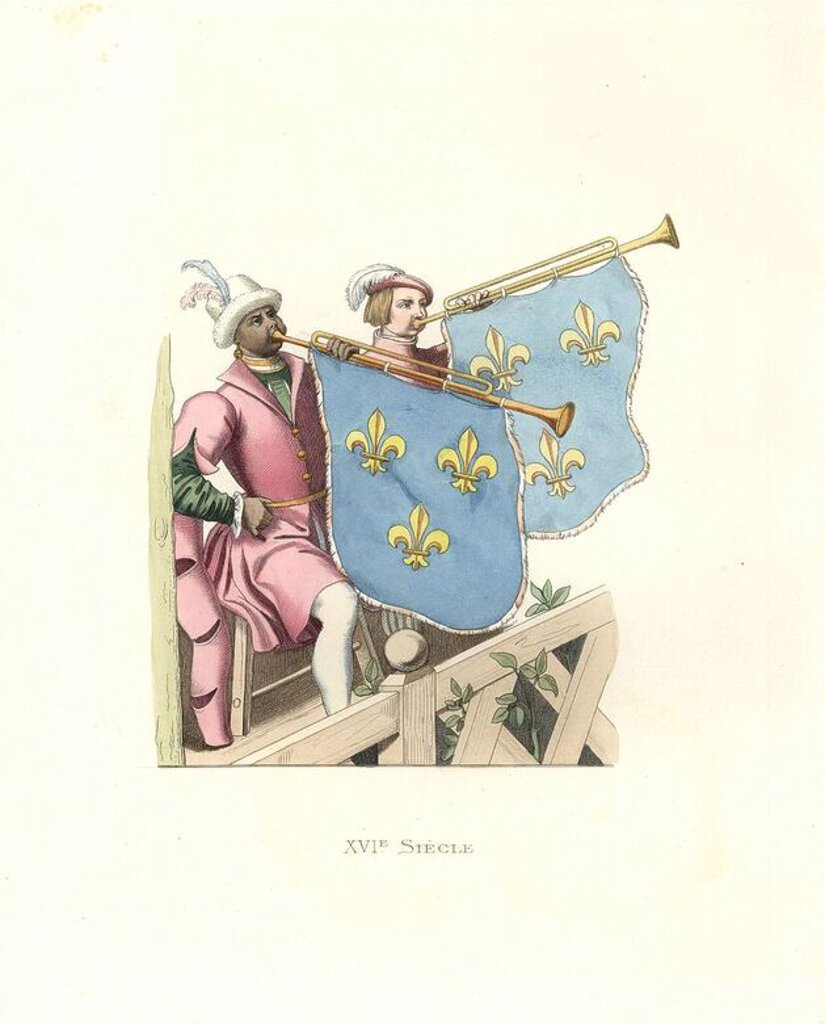 "Trumpeters at a tournament, reign of Francis I of France. Long-sleeved pink tunics over green doublets, white stockings, horns bearing blue standards decorated with gold fleur-de-lys. One of the musicians an African.. . Handcolored illustration by E. Lechevallier-Chevignard, lithographed by A. Didier, L. Flameng, F. Laguillermie, from Georges Duplessis's ""Costumes historiques des XVIe, XVIIe et XVIIIe siecles"" (Historical costumes of the 16th, 17th and 18th centuries), Paris 1867. The book was a : Stock Photo"