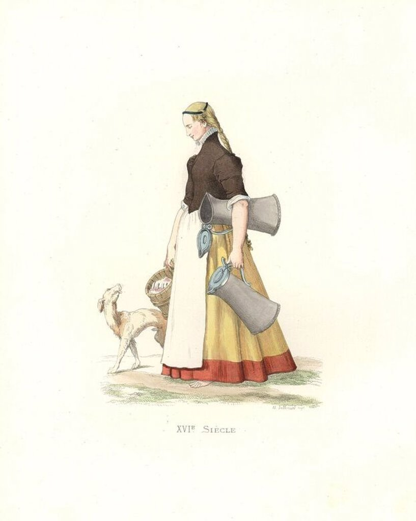 """Stock Photo: 4409-71076 German servant girl, 16th century, carrying jugs of beer and a barrel of pork to market.. Handcolored illustration by E. Lechevallier-Chevignard, lithographed by A.J. Lallemand, from Georges Duplessis's """"Costumes historiques des XVIe, XVIIe et XVIIIe siecles"""" (Historical costumes of the 16th, 17th and 18th centuries), Paris 1867. The book was a continuation of the series on the costumes of the 12th to 15th centuries published by Camille Bonnard and Paul Mercuri from 1830. Georges Duplessis (1834"""