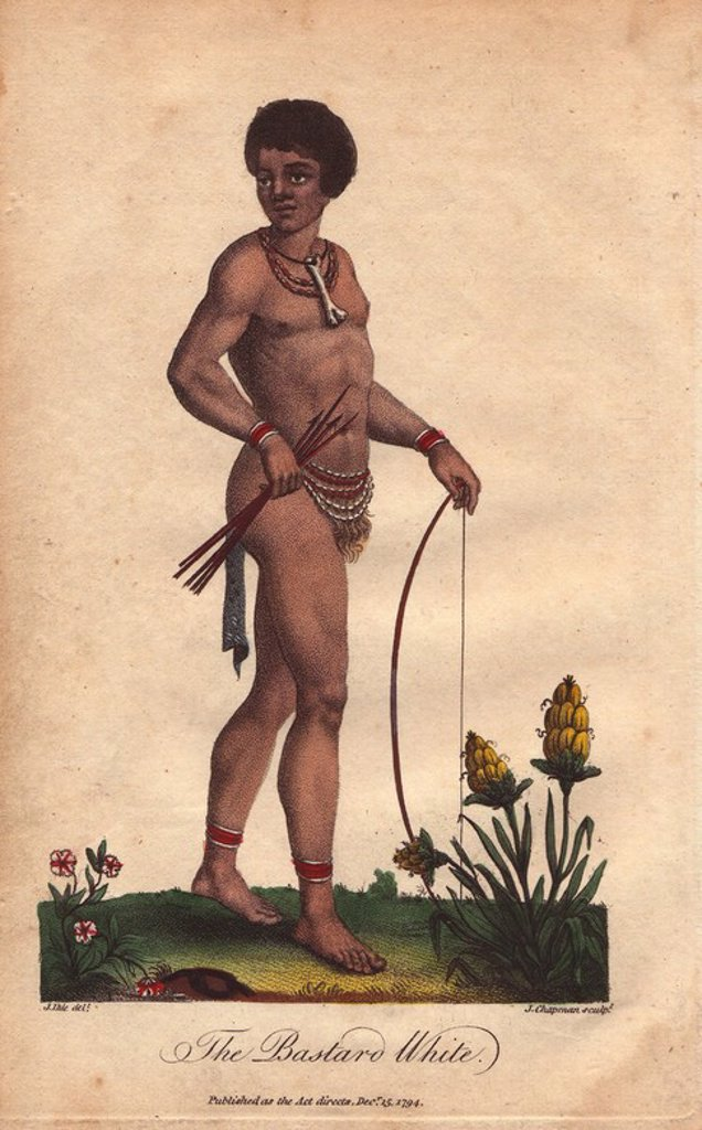 "Stock Photo: 4409-71127 ""The Bastard White."" A mixed-race African man wearing a necklace and bone, carrying a bow and arrow.. . Hand-colored copperplate engraving from a drawing by Johann Ihle from Ebenezer Sibly's ""Universal System of Natural History"" 1794. . . The prolific Sibly published his Universal System of Natural History in 1794~1796 in five volumes covering the three natural worlds of fauna, flora and geology. The series included illustrations of mythical beasts such as the sukotyro and the mermaid, and depic"