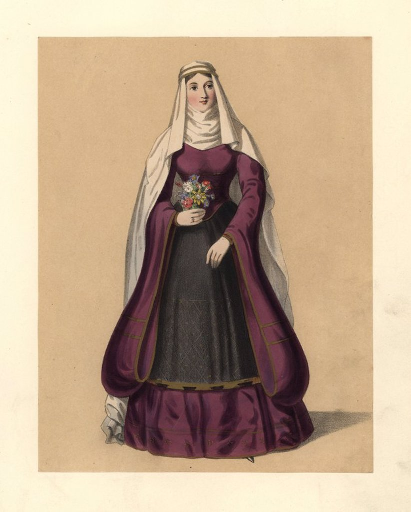 "Dress of the reign of King Stephen, 1135~1141. Long veil and full wimple, full dress with long sleeves and apron, holding a garland of flowers. Cotton manuscript, 12th century psalter and Strutt's ""Habits."" Handcoloured lithograph from ""Costumes of British Ladies from the Time of William the First to the Reign of Queen Victoria,"" London, Dickinson & Son, 1840. 48 mounted plates of women's fashion from 1066 to 1840 based on effigies, manuscripts, portraits, prints and literary descriptions. : Stock Photo"