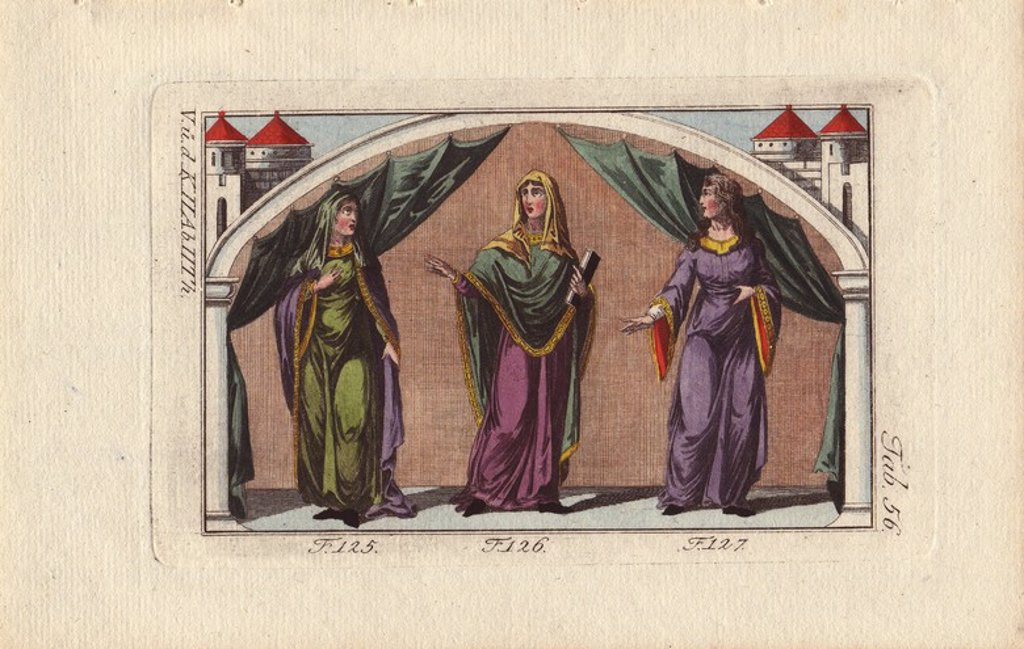 "Stock Photo: 4409-71302 Norman women from the 12th century.. . A Norman noblewoman wearing mantle and veil (125).. . Another Norman noblewoman wearing mantle and veil (126).. . A Norman woman with her head uncovered (127). . . Handcolored copperplate engraving from Robert von Spalart's ""Historical Picture of the Costumes of the Principal People of Antiquity and of the Middle Ages"" (1796)."