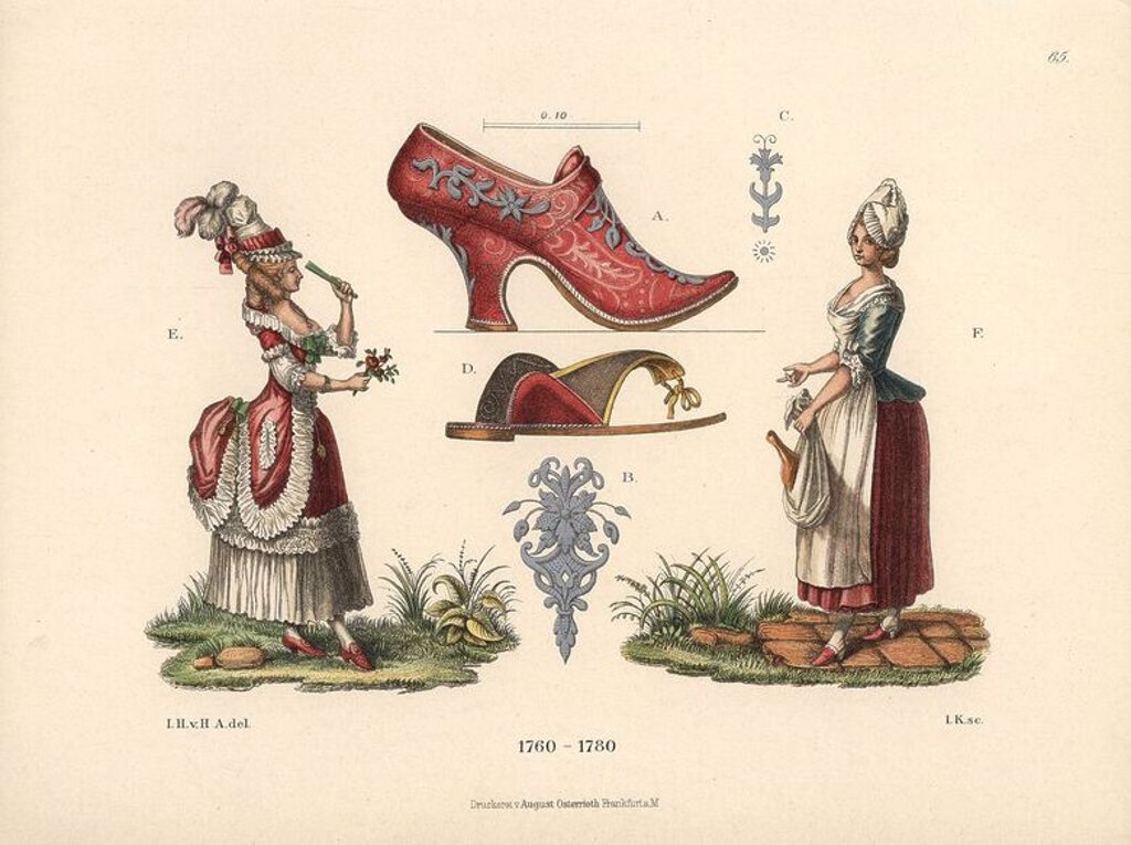 "Women in the fashions of the mid-18th century. A woman in the French mode of the period, with high bonnet and full skirts, and a female cook with apron and ham. In the middle, a red leather shoe with silver buckles, and an undershoe below. Chromolithograph from Hefner-Alteneck's ""Costumes, Artworks and Appliances from the Middle Ages to the 18th Century,"" Frankfurt, 1889. Illustration by Dr. Jakob Heinrich von Hefner-Alteneck, lithographed by Joh. Klipphahn, and published by Heinrich Keller. Dr. : Stock Photo"