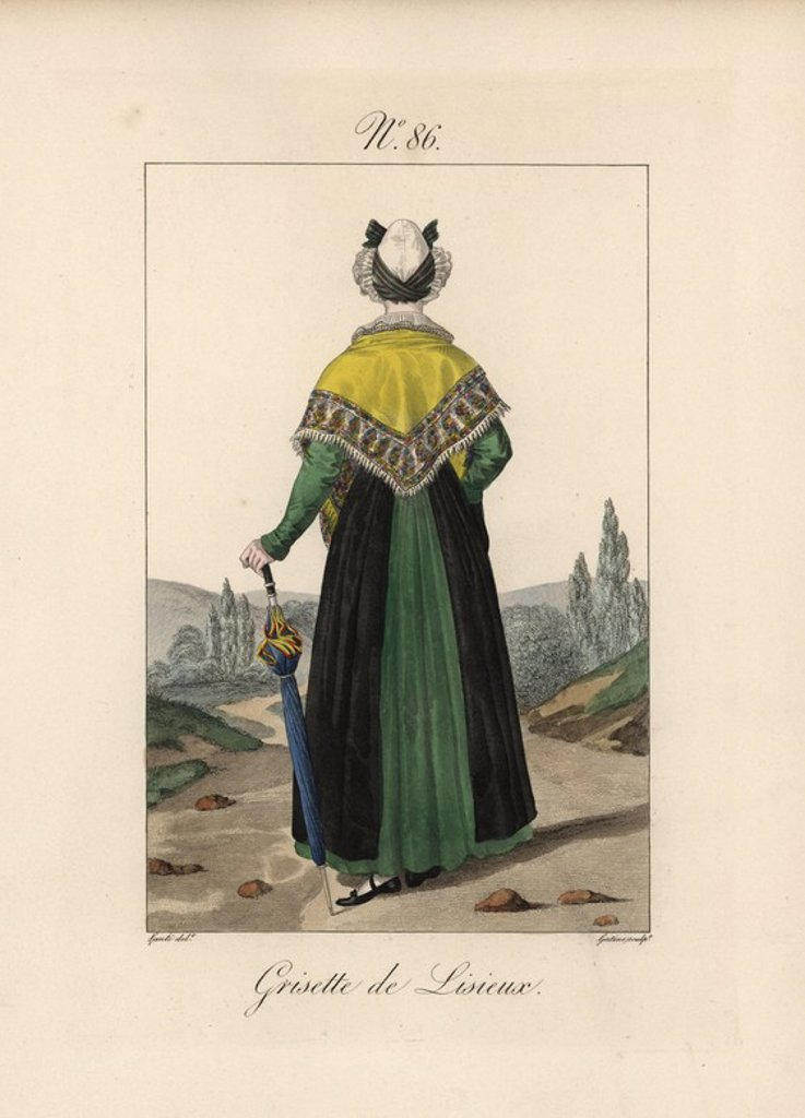 "Tradeswoman of Lisieux. She wears a serre-tete fixed with a double ribbon, like those worn by the women of Paris at night. The term ""grisette"" referred to a working class woman, usually in the clothes trade, but also carried the connotation of floozy. Hand-colored fashion plate illustration by Lante engraved by Gatine from Louis-Marie Lante's ""Costumes des femmes du Pays de Caux,"" 1827/1885. With their tall Alsation lace hats, the women of Caux and Normandy were famous for the elegance and style : Stock Photo"