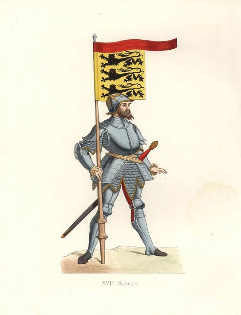 "Stock Photo: 4409-71332 English Man of Arms, 16th century, in suit of armor and helmet, carrying a pennant with three lions, and a long two-handed sword.. Handcolored illustration by E. Lechevallier-Chevignard, lithographed by A. Didier, L. Flameng, F. Laguillermie, from Georges Duplessis's ""Costumes historiques des XVIe, XVIIe et XVIIIe siecles"" (Historical costumes of the 16th, 17th and 18th centuries), Paris 1867. The book was a continuation of the series on the costumes of the 12th to 15th centuries published by Ca"