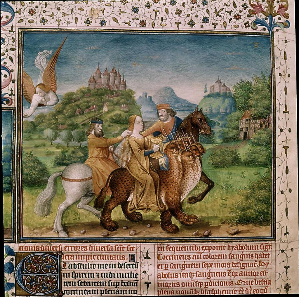 Spanish school. Woman on a seven headed dragon. Apocalypse manuscript. 1557. Madrid, Manoastery of San Lorenzo de El Escorial. Author: BAPTEUR JEAN / LAMY PERONET / COLOMBE JEAN. Location: MONASTERIO-BIBLIOTECA-COLECCION, SAN LORENZO DEL ESCORIAL, MADRID, SPAIN. : Stock Photo