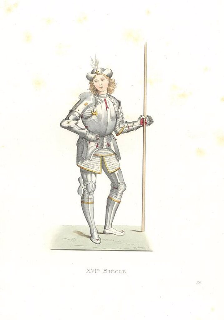 "Stock Photo: 4409-71674 Italian man of arms, 16th century, after an illustration by Italian artist Bernardino di Benedetto, il Pinturicchio (1454-1513), in the Louvre. Handcolored illustration by E. Lechevallier-Chevignard, lithographed by A. Didier, L. Flameng, F. Laguillermie, from Georges Duplessis's ""Costumes historiques des XVIe, XVIIe et XVIIIe siecles"" (Historical costumes of the 16th, 17th and 18th centuries), Paris 1867. The book was a continuation of the series on the costumes of the 12th to 15th centuries pu"