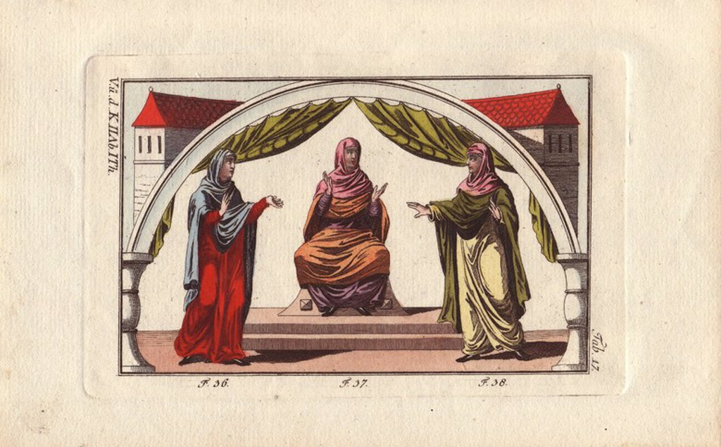 "Stock Photo: 4409-71750 Anglo Saxon woman wearing a tunic, veil, mantle, and open-toe shoes (36), Anglo Saxon woman in tunic and veil (37), and Anglo Saxon woman in a veil in a different colour from her mantle (38)."". . ""Veils were dyed in various colours and made of fabrics probably more or less precious."" . . Handcolored copperplate engraving from Robert von Spalart's ""Historical Picture of the Costumes of the Principal People of Antiquity and of the Middle Ages"" (1796)."
