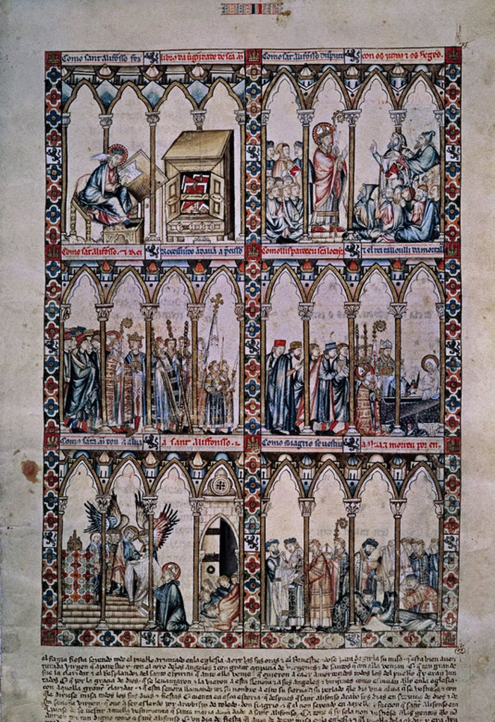 Stock Photo: 4409-7210 MTI1-CANTIGA STA MARIA Nº2-F7R-MILAGRO DE SAN ILDELFONSO-VIRGEN IMPONE LA CASULLA-S XIII. Author: ALFONSO X OF CASTILE, THE WISE. Location: MONASTERIO-BIBLIOTECA-COLECCION, SAN LORENZO DEL ESCORIAL, MADRID, SPAIN.