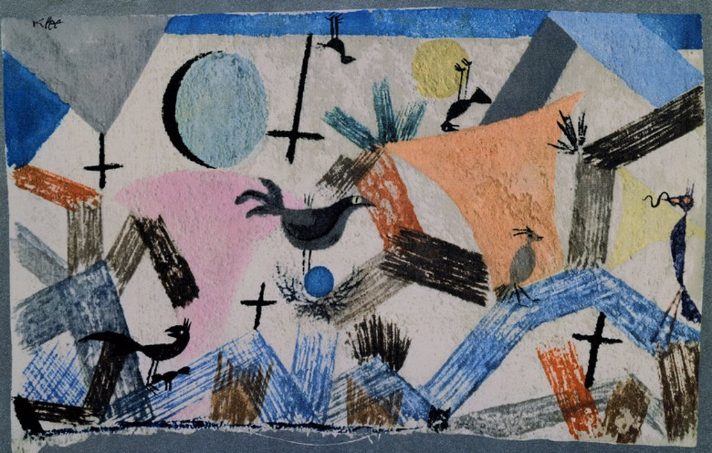 Stock Photo: 4409-7236 PINTURA-ABSTRACTO-PAJAROS. Author: KLEE, PAUL. Location: PRIVATE COLLECTION, MADRID, SPAIN.