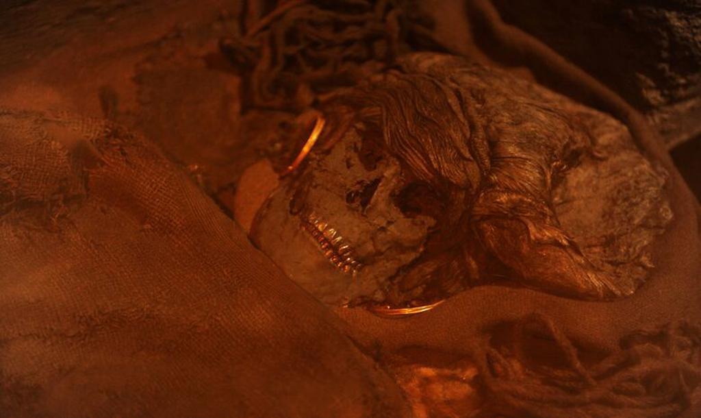 Stock Photo: 4409-72534 ARTE PREHISTORIA. EDAD METALES. EUROPA. Mujer de Skrydstrup. Tumba de la Edad del Bronce, con ataud de roble. Sepultura de una mujer joven de 18 años. Fue colocada en el ataud, con blusa de manga corta de tela de lana con bordados en mangas y cuello. Peinado cubierto con una redecilla. Ajuar, como joyas, puñales y placa metal colocada a la altura estómago. 1300 a. C. Skrydstrup, Jutland. Dinamarca. Museo Nacional. Copenhague. Dinamarca. Europa.