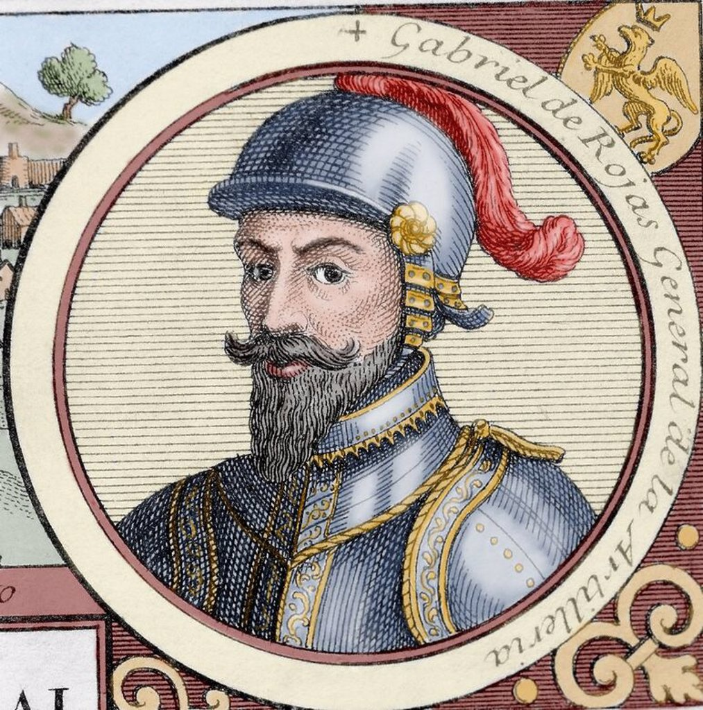 Stock Photo: 4409-72556 Gabriel de Rojas Cordova (c.1480-1549). Spanish conqueror. Engraving at The Truthful History of the Conquest of New Spain by Bernal Diaz del Castillo.  Colored. Library of the University of Barcelona. Spain.