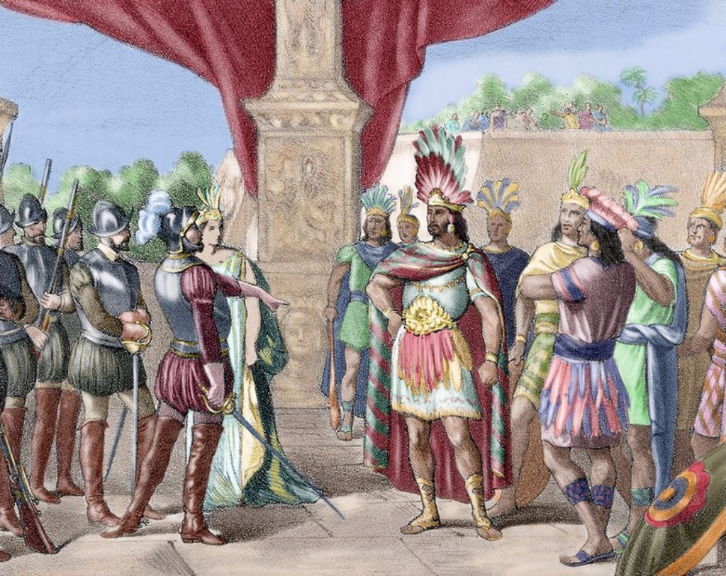 Moctezuma II (c. 1466 Ð 29 June 1520). Ninth tlatoani or ruler of Tenochtitlan, reigning from 1502 to 1520. Hernan Cortes takes prisoner Moctezuma II. Colored engraving, 1875. : Stock Photo