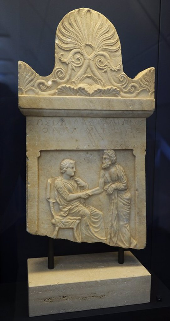 Stock Photo: 4409-72696 Greek Art. Gravestone. Relief crowned by palmette ornament. The dead girl, Sosilla, daughter of Straton from Kollytos in Attica, takes leave of Chaireas from Kedoi in Attica. 400-350 BC. Greece.