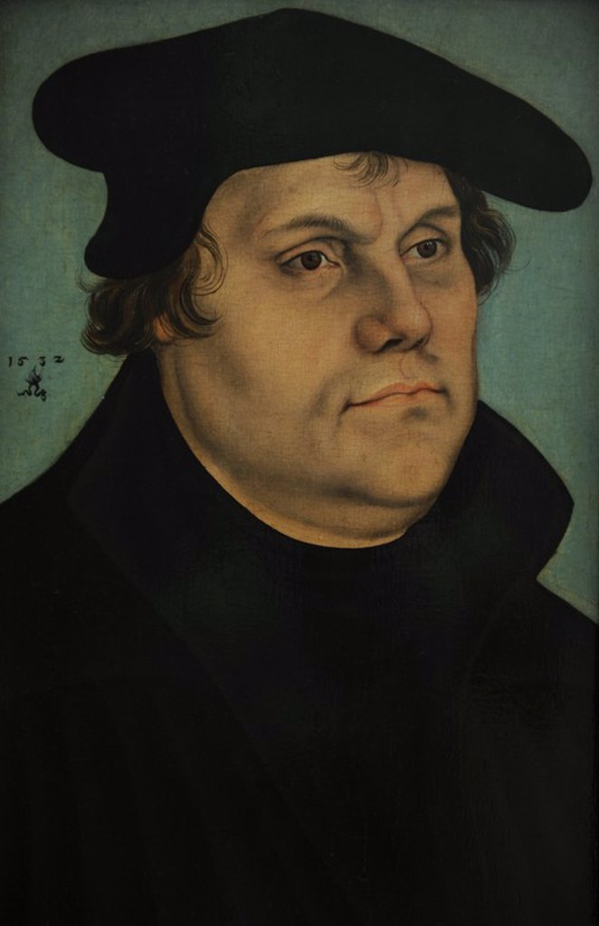 Martin Luther (1483-1546). German monk, icon of the Protestant Reformation. Portrait by Lucas Cranach the Elder (1472-1553), 1532. National Museum of Art. Copenhagen. Denmark. : Stock Photo