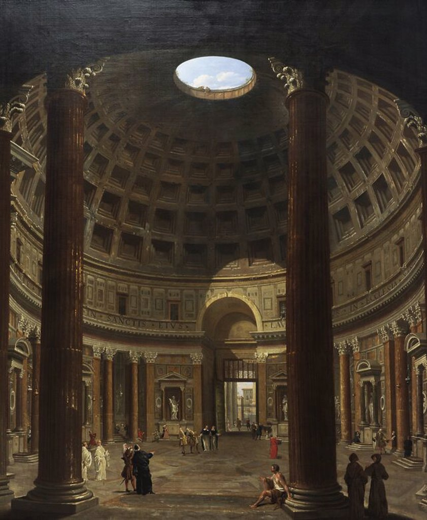Stock Photo: 4409-72724 Giovanni Paolo Pannini (1691-1765). Italian painter. Interior of the Pantheon, Rome. 1706-1775. National Museum of Art. Copenhagen. Denmark.