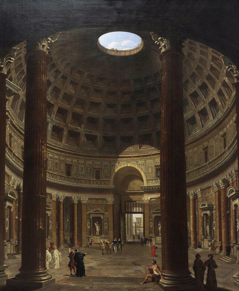 Giovanni Paolo Pannini (1691-1765). Italian painter. Interior of the Pantheon, Rome. 1706-1775. National Museum of Art. Copenhagen. Denmark. : Stock Photo