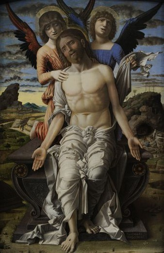 Andrea Mantegna (1431-1506). Italian painter. Christ as the Suffering Redeemer, 1495-1500. National Museum of Art. Copenhagen. Denmark. : Stock Photo