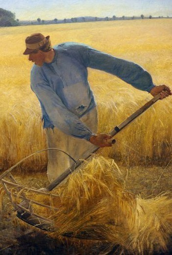 Laurits Andersen Ring (1854-1933). Danish painter. Harvest, 1885. National Museum of Art. Copenhagen, Denmark. : Stock Photo