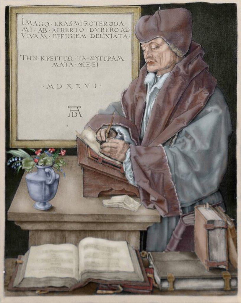 Stock Photo: 4409-72821 Erasmus of Rotterdam (1466-1536). Dutch humanist. Burin engraving by Albrecht Durer (1471-1528), 1526. Colored.