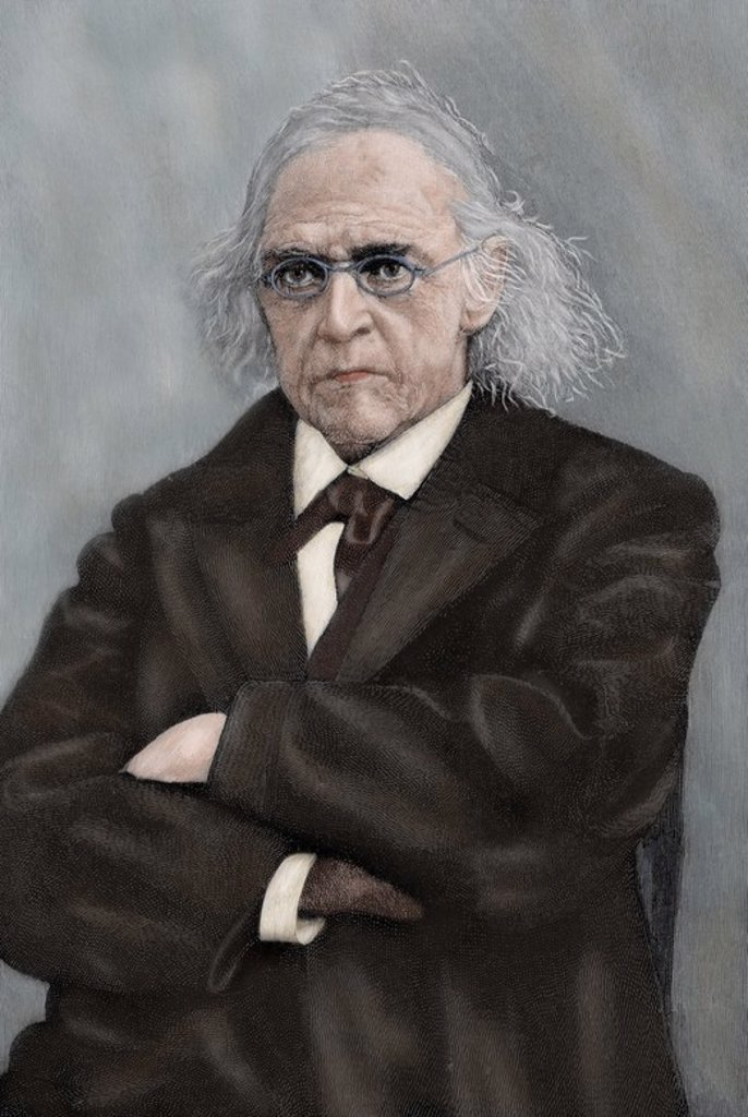 Stock Photo: 4409-73111 Theodor Mommsen (1817-1903). German jurist and historian. Nobel Prize in Literature in 1902. Engraving, early 20th century. Colored.