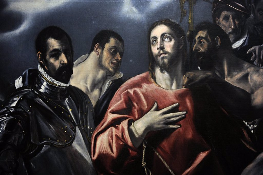 El Greco (1541-1614). Cretan painter. The Disrobing of Christ (El Expolio), 1580-1600. Detail. Museum of Fine Arts. Budapest. Hungary. : Stock Photo