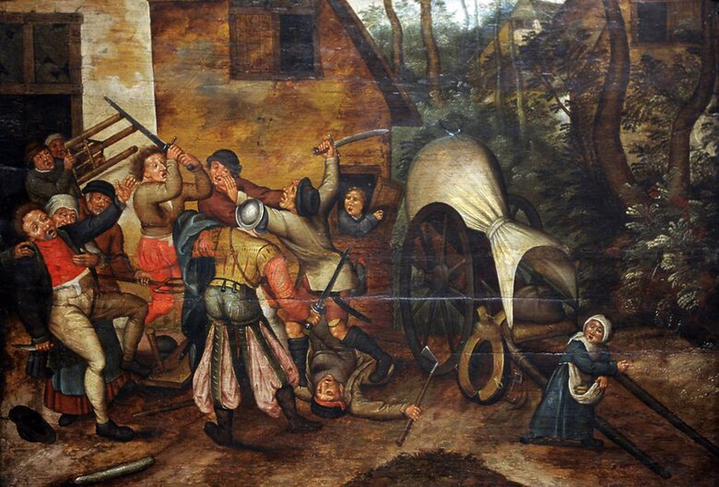 Pieter Brueghel the Younger (1564-1636). Flemish painter. Affray between Peasants and Soldiers. Museum of Fine Arts. Budapest. Hungary. : Stock Photo
